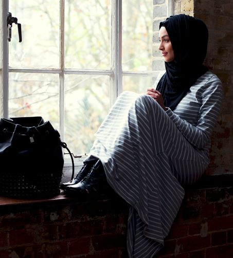 keeping it cool and casual with a striped maxi dress #hijab #hijabi #style #fashion