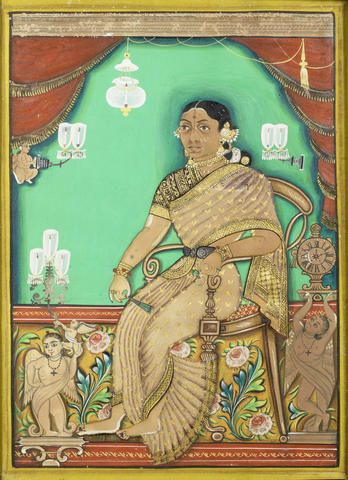 A courtesan seated in an interior probably Mysore, circa 1860