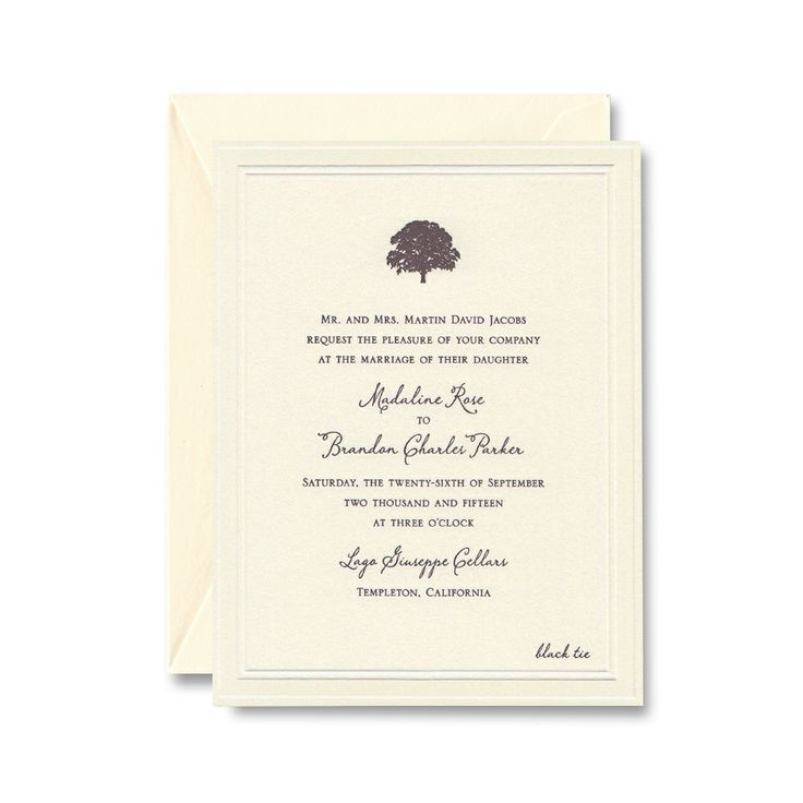 Letterpress invitation on Lettra paper with a debossed border and kona ink.