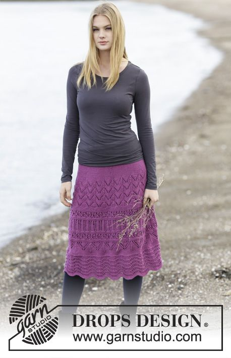 """#DROPSDesign #skirt with lace pattern in """"Cotton Merino"""" #knitting"""