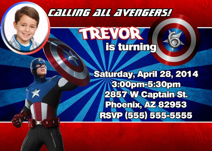Unique Ideas For Captain America Birthday Invitations Templates