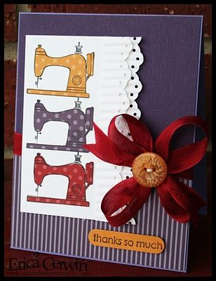 Cute card made by stamping the sewing machine image onto patterned paper, and cut out to layer onto the white background.