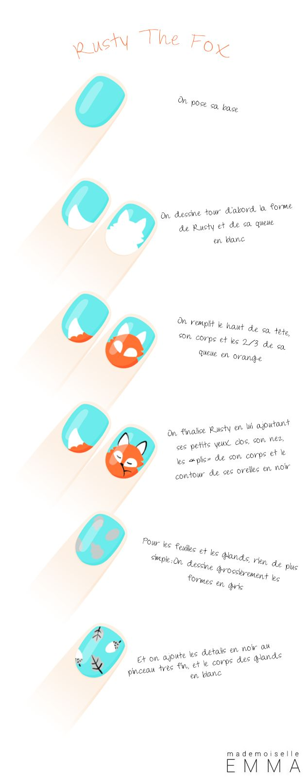 Rusty the fox nail polish tutorial