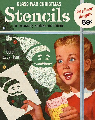 Vintage Christmas Stencils - Glass Wax! I remember this