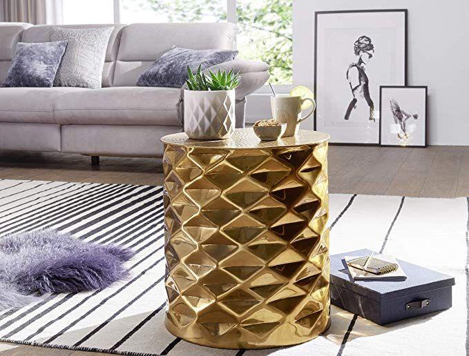 Finebuy Beistelltisch Gapol 43 5x48x43 5 Cm Aluminium Couchtisch Gold Orientalisch Rund Flacher Hammerschlag Sofatisch Beistelltische Sofa Tisch Lounge Tisch