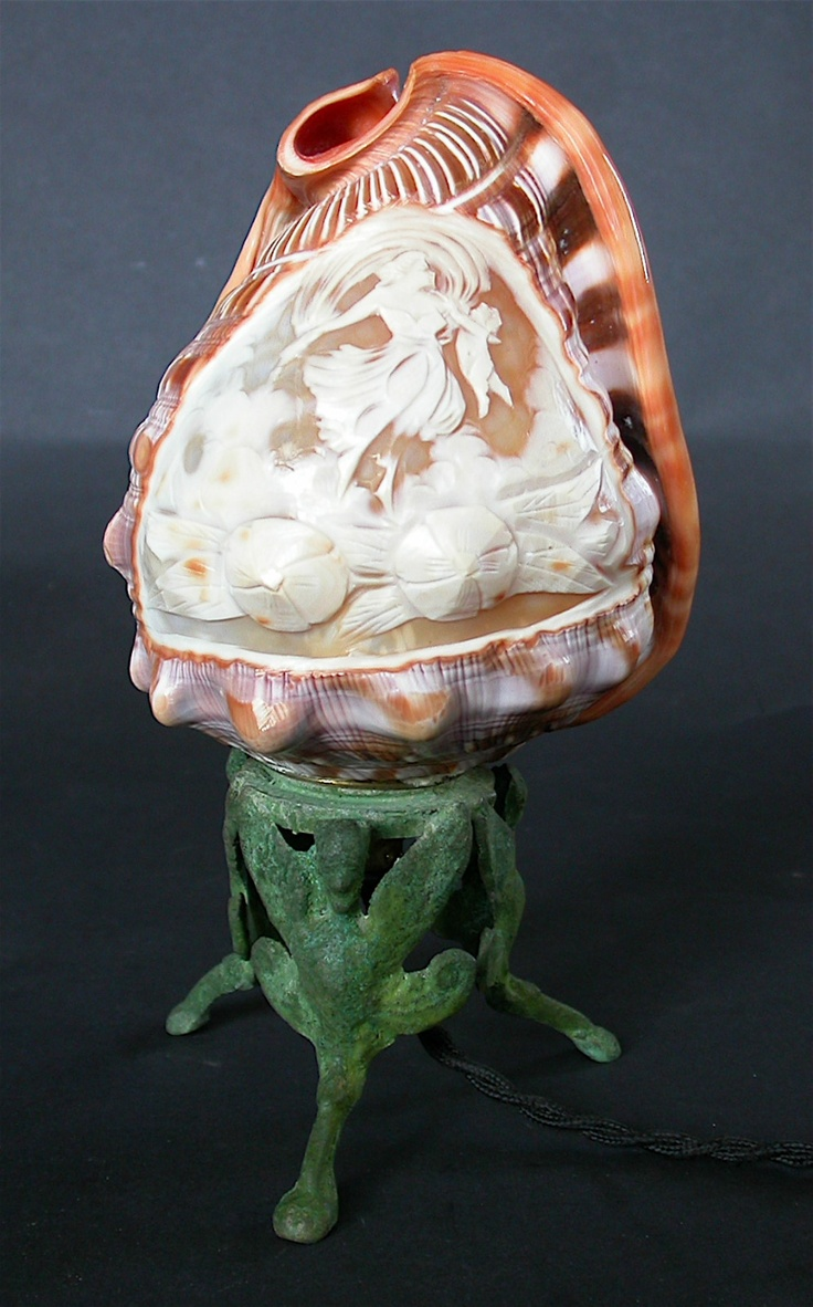Antique Cameo Carved Conch Sea Shell Lamp Italy 1930 S