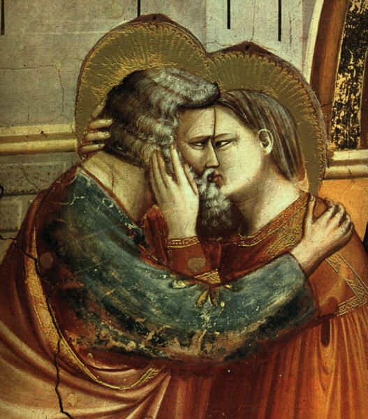 Giotto ~ Meeting at the Golden Gate (this depicts Joachim and Anna, the Virgin Mary's parents, reuniting after a long time away from one another).