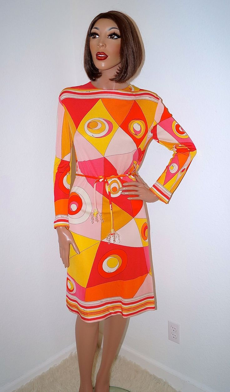 1960s Emilio Pucci Dress / Authentic Emilio Pucci Silk Op Art Dress Italian Coppola e Toppo Tassel Belt / 60s Designer Vintage Pucci Dress by ModVibeVintage on Etsy https://www.etsy.com/listing/230593778/1960s-emilio-pucci-dress-authentic