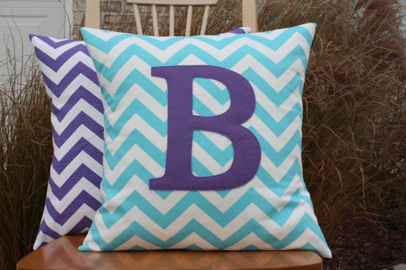 Purple and aqua nursery colors:  Monogrammed Pillow Cover  Turquoise Chevron with by nest2impress