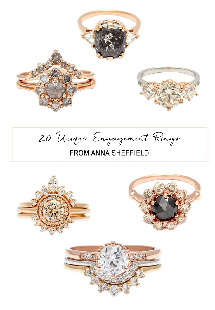 Unique Engagement rings from Anna Sheffield // colored engagement ring // onyx halo