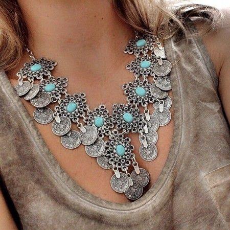 Maxi colar em prata turca envelhecida estilo flor com pedra azul turquesa