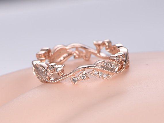 etsy wedding rings. milgrain diamond wedding band solid 14k rose by pennijewel on etsy rings