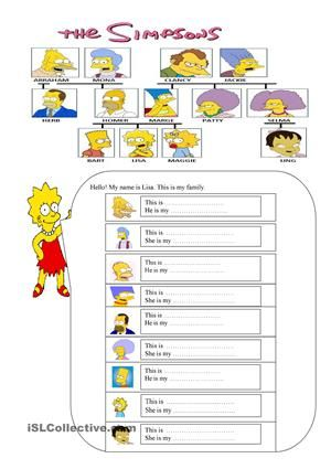 it is prepared to teach and practise family members by the help of the simpsons. - ESL worksheets