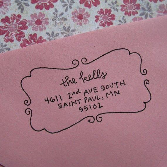 Elizabeth Address Stamp (Self-inking). $48.00, via Etsy.