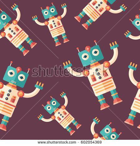 Robot cosmonaut flat icon seamless pattern. #robots #robotics #vectorpattern #patterndesign #seamlesspattern