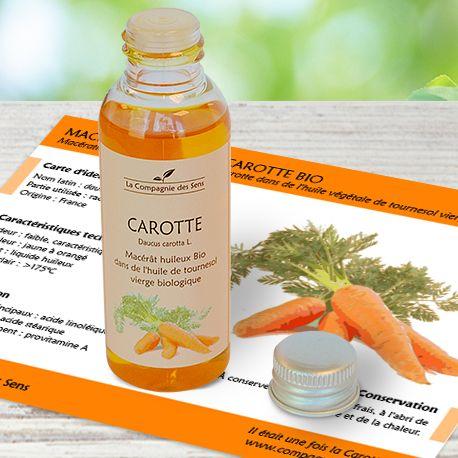Macérât huileux de Carotte BIO pour préparer sa peau au soleil et entretenir le bronzage. Effet bonne mine !