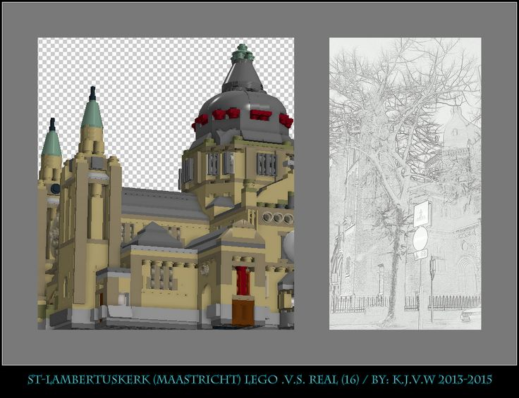 [ st-lambertuskerk  lego .v.s. real part 16 ]    16 of the 19 photo's from my collage of St-Lambertuskerk (Maastricht) ((Non-lego))