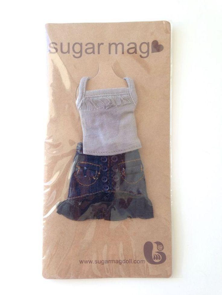 Sugar Mag Blythe grey top with denim ruffled skirt (NRFB) B35 #SugarMag #ClothingAccessories