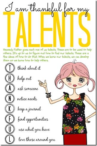 Share your talents! Darling Printable for girls. LDS Activity Talents 3 Sunshine and Melody
