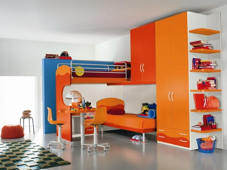 Contamporary Kids Room With Colorful Modern Furniture