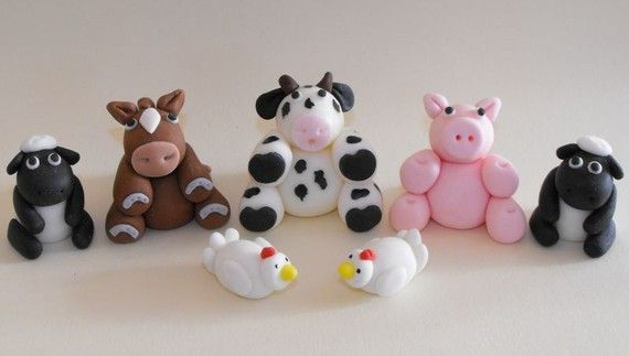 Granja animales Cupcake o torta Toppers  caja de por TheLilDetails