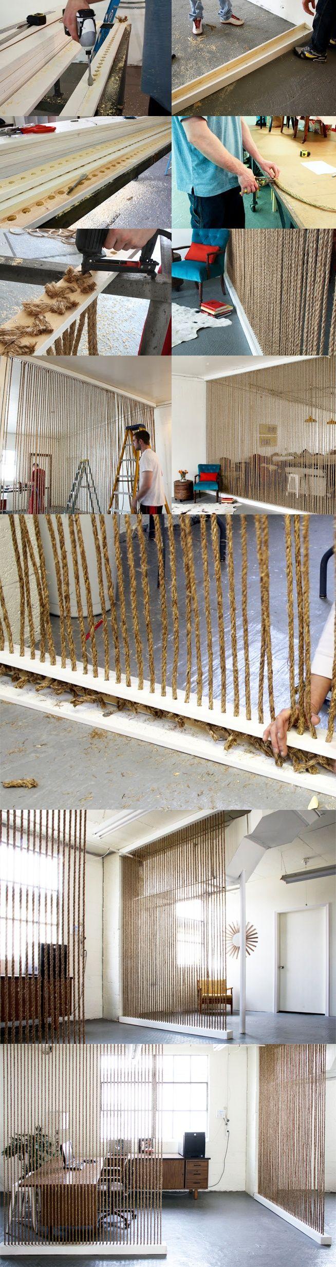 Muros divisorios con cuerdas - DIY Rope Wall