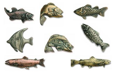 Knobs and pulls buck snort lodge fish collection 7 for Fish drawer pulls