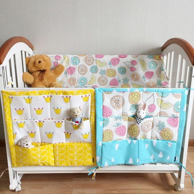 Muselina Árbol Colgando Bolsa de Almacenamiento de Cama de Bebé Cuna Bebé Marca Organizador 60*50 cm Juguete de Cuna de algodón Pañales de Bolsillo para Juego de Cama Cuna