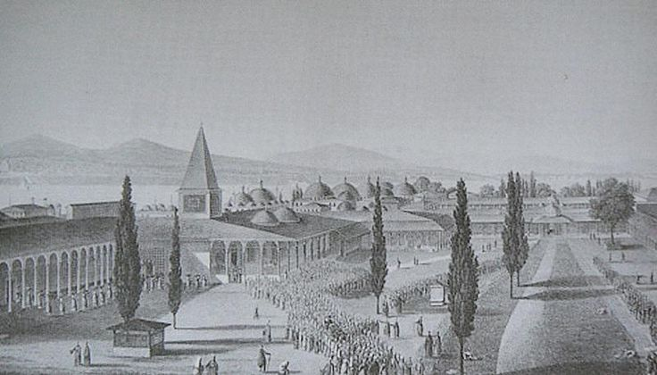 #HALİÇ ALBÜMÜ: 19. yüzyıl ortalarında Topkapı Sarayı ve çevresini betimleyen anonim gravür #İstanbul #TopkapıSarayı