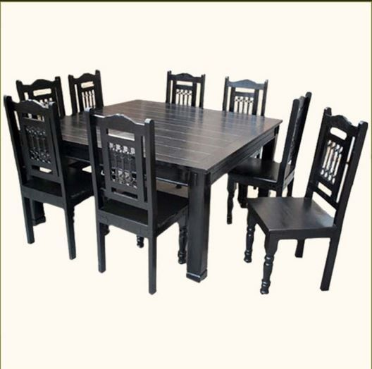Solid Wood Rustic Square Dining Table Chairs Set for 8 houzz.com
