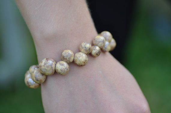 bracelet ceramic jewelry unique bracelet beige  by zolanna on Etsy