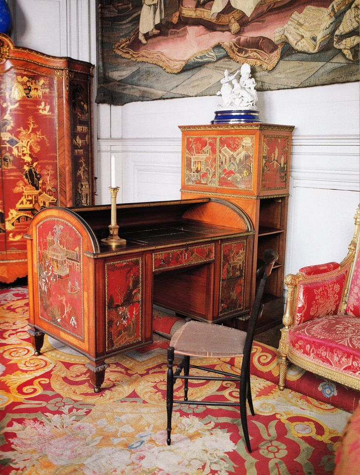 early decorated with red lacquer  From the lacquer room at the Hotel du  Chatelet  Book  French Interiors of the century by John Whitehouse. 449 best Furniture Styles  Antique   Modern w names images on