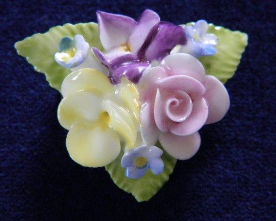 Vintage Porcelain Flower Brooch, Coalport
