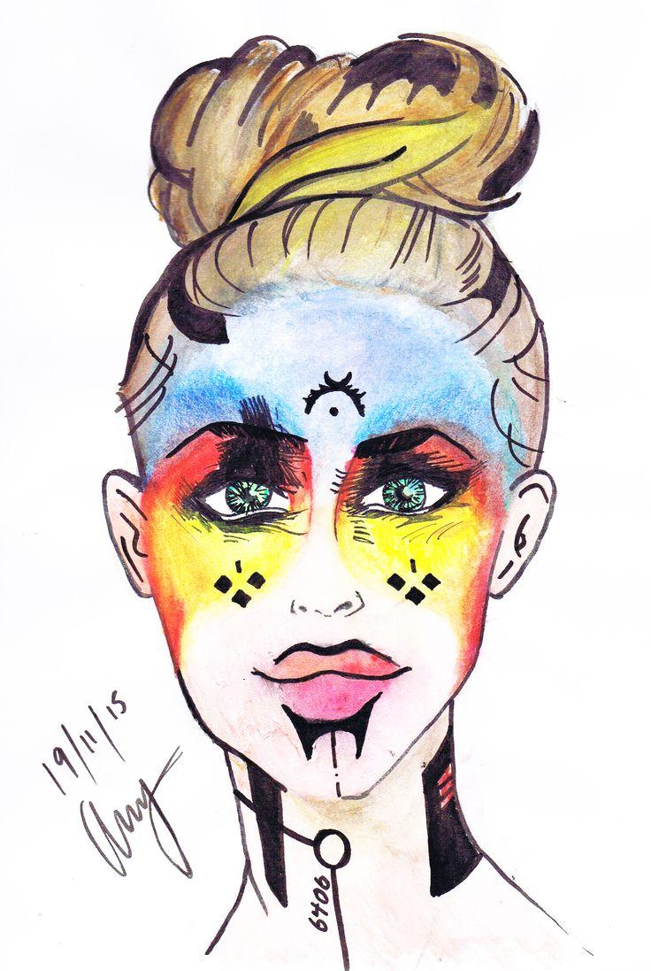 Tribe - By Anthony Keutzer #Tribe #Woman #Warrior #WaterColour #Ink #Art #Sketch #War #PWarPaint