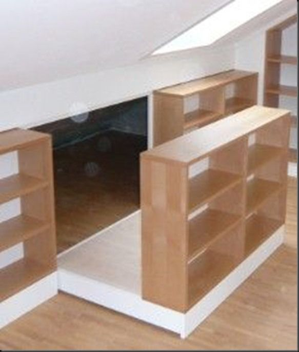 Slide out shelving with hidden storage in a knee wall