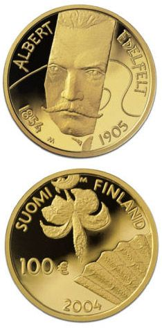 100 euro: Albert Edelfelt and painting.Country:Finland Mintage year: 2004 Face value: 100 euro Diameter: 22.00 mm Weight: 5.65 g Alloy: Gold Quality: Proof Mintage: 15,000 pc proof Design: Pertti Mäkinen