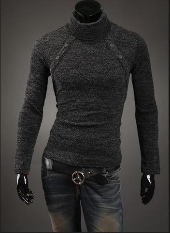 Men's Turtleneck Chest Button Sweater