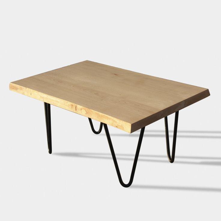 Cajonera kit Mesa de centro estilo industrial fabricada en madera de haya con patas de hierro macizo