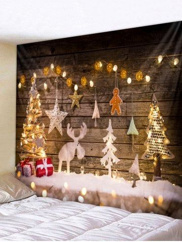 Wood Christmas Tree Elk Tapestry Wall Art Decoration Wall Hangings