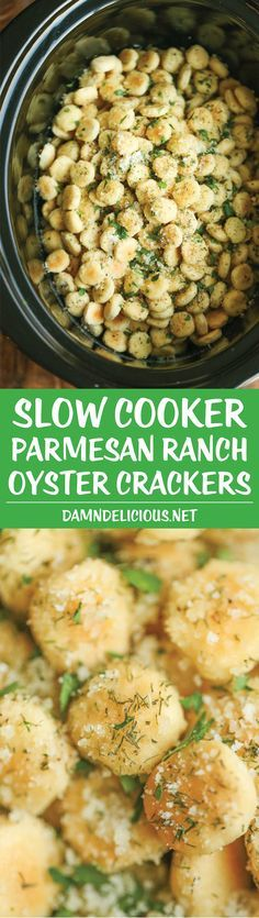 Slow Cooker Parmesan Ranch Oyster Crackers - Perfect for snacking or feeding a large crowd. They're just so addicting, and you won't be able to stop!