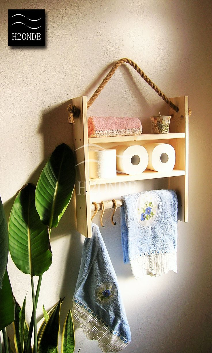 """Rope hanging wood shelf bathroom kitchen rustic wall shelves spice rack S hook farmhouse decor storage towel toilet paper holder nautical H2ONDE Rustic wooden shelf for your kitchen or bathroom perfect for a traditional or coastal home. With a driftwood branch where you can hang all your towels, you can choose to add steel S-hooks covered in jute. The shelf has a rope in jute to hang it on your walls. Approx. sizes: width 17,3"""", height 26"""", depth 4,7""""; Hook height: 4,3"""""""
