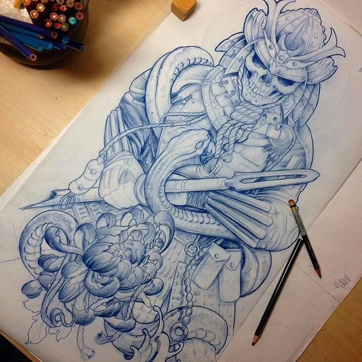 Sketch For A Japanese Sleeve: Samurai, Tattoo And Tatoo