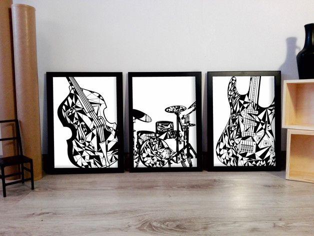 50x70 3 szt TRYPTYK PLAKAT MUZYCZNY - ARTT - Dekoracje