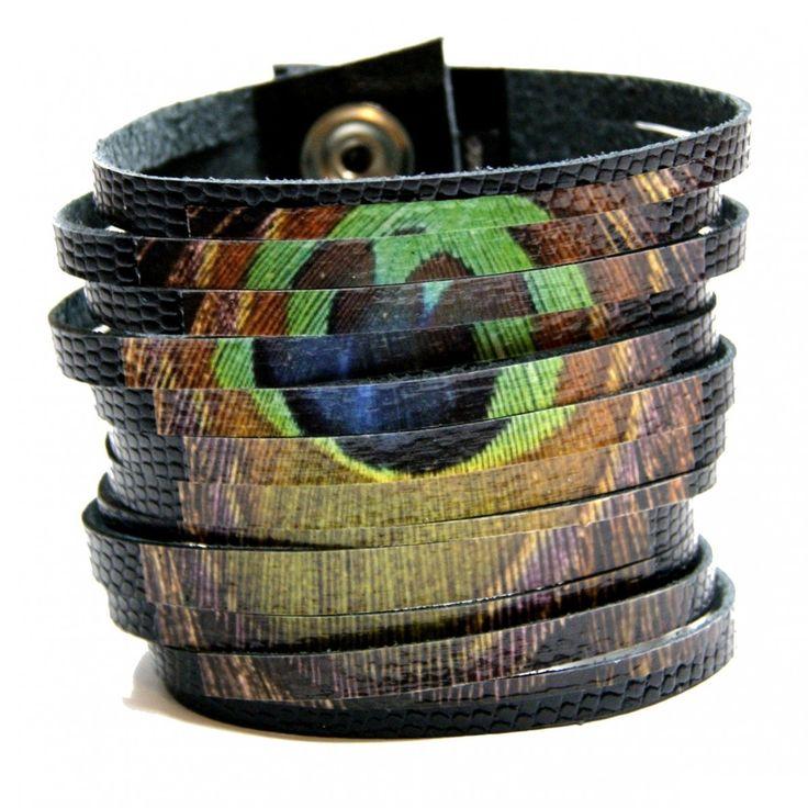Pawie pióro | Hady-Surowiec.pl #skóra #handmade #bransoletki #pióro #peacock