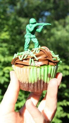 USA 4th of July Party Army Cupcakes!  See more party ideas at CatchMyParty.com!