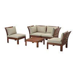 IKEA - ÄPPLARÖ / HÅLLÖ, 4er-Sitzgruppe/außen, braun las./beige, , Durch Kombinieren verschiedener Elemente lassen sich Sitzgruppen ganz nach Wunsch gestalten; perfekt abgestimmt auf den Sitzplatz draußen.Rundum bezogen, beidseitig anwendbar und daher länger haltbar.Leicht sauberzuhalten, da der Bezug maschinenwaschbar ist.Mit Kissen in verschiedenen Farben, Stilen und Ausführungen wird das Polstermöbel noch bequemer und persönlicher.Zur Erhöhung der Haltbarkeit und damit die natürliche…