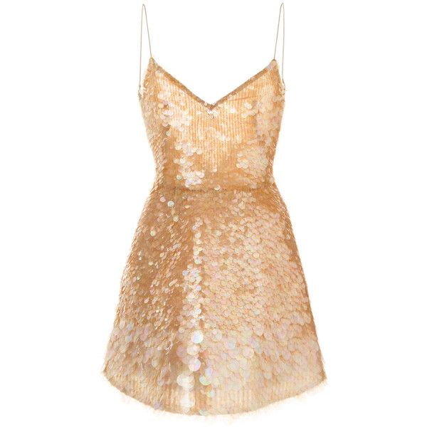 Monique Lhuillier sequinned party dress (£2,730) ❤ liked on Polyvore featuring dresses, vestidos, short sequin dress, monique lhuillier dresses, short dresses, silk cocktail dress and beige dress