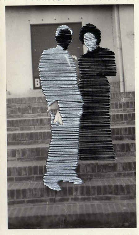 Flore Gardner Ghosts (White Wedding, Black Wedding) [Couple on Stairs], 2012 Embroidered Photograph