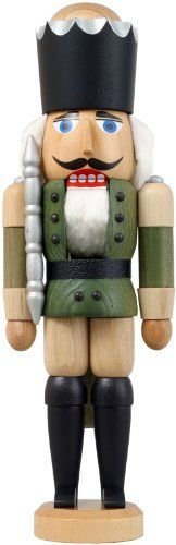German nutcracker King ashtree green height 29 cm  11 inch original Erzgebirge by Seiffener Volkskunst *** Want additional info? Click on the image.