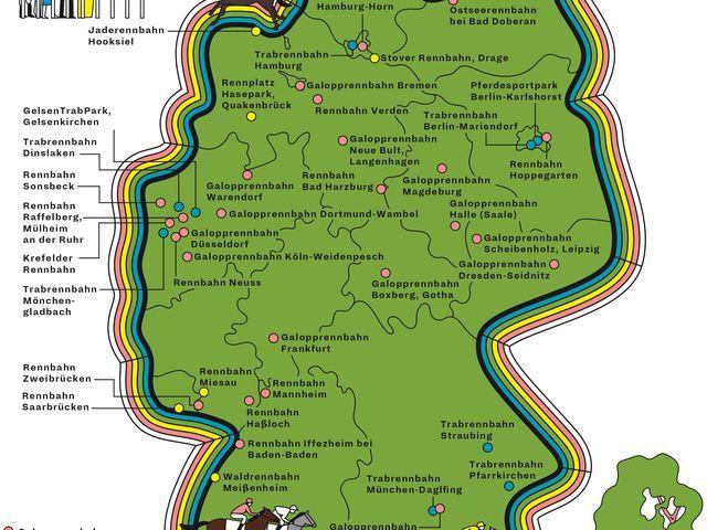 Deutschlandkarte - Pferderennbahnen